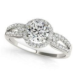 1.25 ctw Certified VS/SI Diamond Halo Ring 18k White Gold - REF-275M5G