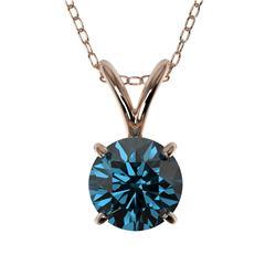 0.78 ctw Certified Intense Blue Diamond Necklace 10k Rose Gold - REF-54R2K