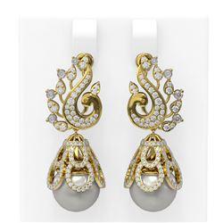 3.13 ctw Diamond & Pearl Earrings 18K Yellow Gold - REF-316K8Y