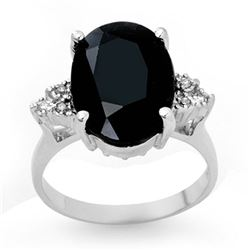 7.76 ctw Blue Sapphire & Diamond Ring 18k White Gold - REF-72F8M