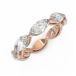 2.64 ctw Marquise Cut Diamond Designer Ring 18K Rose Gold - REF-383F3M