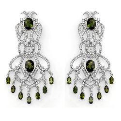 17.30 ctw Green Tourmaline & Diamond Earrings 14k White Gold - REF-490H9R