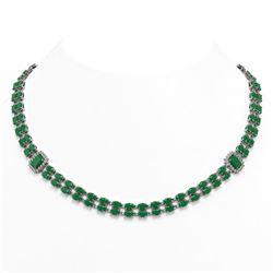 41.63 ctw Emerald & Diamond Necklace 14K White Gold - REF-527W3H