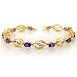 5.60 ctw Tanzanite & Diamond Bracelet 10k Yellow Gold - REF-76G4W