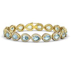 15.74 ctw Aquamarine & Diamond Micro Pave Halo Bracelet 10k Yellow Gold - REF-345K5Y
