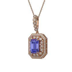 6.05 ctw Tanzanite & Diamond Victorian Necklace 14K Rose Gold - REF-309H3R