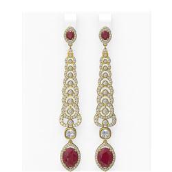 9.18 ctw Ruby & Diamond Earrings 18K Yellow Gold - REF-520H2R