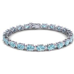 19.7 ctw Sky Blue Topaz & VS/SI Diamond Eternity Bracelet 10k White Gold - REF-98F2M