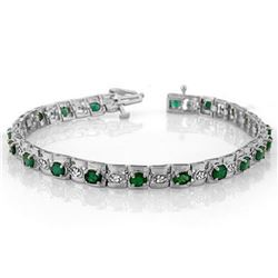 4.09 ctw Emerald & Diamond Bracelet 14k White Gold - REF-118N2F