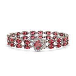 26.92 ctw Tourmaline & Diamond Bracelet 14K White Gold - REF-336K4Y
