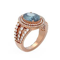 4.89 ctw Blue Topaz & Diamond Ring 18K Rose Gold - REF-174N2F