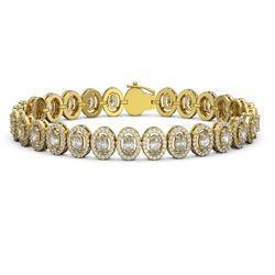 12.2 ctw Oval Cut Diamond Micro Pave Bracelet 18K Yellow Gold - REF-1025W8H