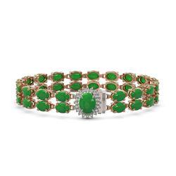 29.82 ctw Jade & Diamond Bracelet 14K Rose Gold - REF-218N2F