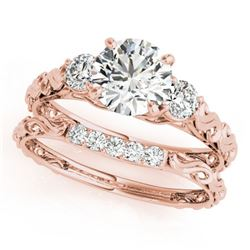 1.14 ctw VS/SI Diamond 3 Stone 2pc Set Wedding 14k Rose Gold - REF-159Y5X