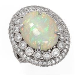 9.48 ctw Certified Opal & Diamond Victorian Ring 14K White Gold - REF-293Y3X