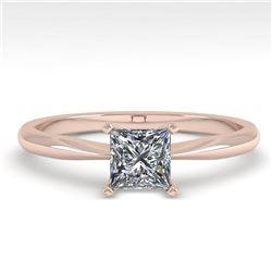0.52 ctw Princess Cut VS/SI Diamond Engagment Ring 18k Rose Gold - REF-71X2A