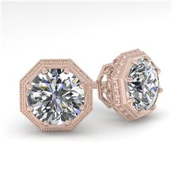1.50 ctw VS/SI Diamond Stud Earrings Art Deco 18k Rose Gold - REF-300N2F