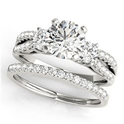 1.71 ctw VS/SI Diamond 3 Stone 2pc Wedding Set 14k White Gold - REF-299M2G