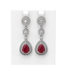 10.92 ctw Ruby & Diamond Earrings 18K White Gold - REF-445K5Y