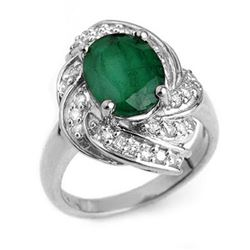 3.29 ctw Emerald & Diamond Ring 18k White Gold - REF-118W2H