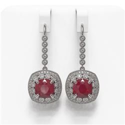 12.9 ctw Certified Ruby & Diamond Victorian Earrings 14K White Gold - REF-257Y3X