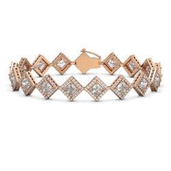 13.5 ctw Princess Cut Diamond Micro Pave Bracelet 18K Rose Gold - REF-1881M3G