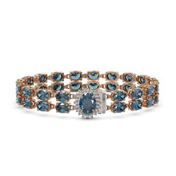 29.22 ctw London Topaz & Diamond Bracelet 14K Rose Gold - REF-218Y2X
