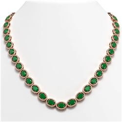 52.15 ctw Emerald & Diamond Micro Pave Halo Necklace 10k Rose Gold - REF-763W6H