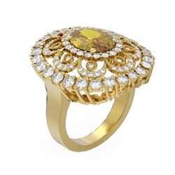 5.61 ctw Canary Citrine & Diamond Ring 18K Yellow Gold - REF-256A4N