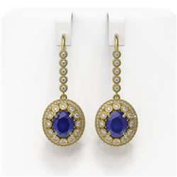 9.25 ctw Certified Sapphire & Diamond Victorian Earrings 14K Yellow Gold - REF-243A5N