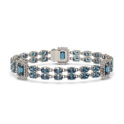 17.98 ctw London Topaz & Diamond Bracelet 14K White Gold - REF-248M2G