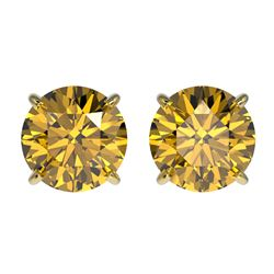 1.92 ctw Certified Intense Yellow Diamond Stud Earrings 10k Yellow Gold - REF-294W5H