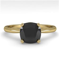 3.0 ctw Cushion Black Diamond Engagment Designer Ring 14k Yellow Gold - REF-97K5Y