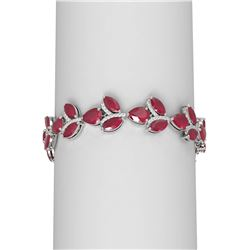 40.92 ctw Ruby & Diamond Bracelet 18K White Gold - REF-527X3A