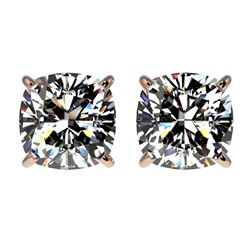 2 ctw Certified VS/SI Quality Cushion Diamond Stud Earrings 10k Rose Gold - REF-478N6F