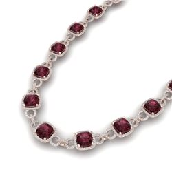 66 ctw Garnet & VS/SI Diamond Certified Necklace 14K Rose Gold - REF-881M8G