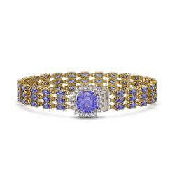 27.75 ctw Tanzanite & Diamond Bracelet 14K Yellow Gold - REF-377R5K