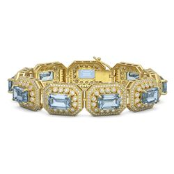 49.14 ctw Aquamarine & Diamond Victorian Bracelet 14K Yellow Gold - REF-1361W5H