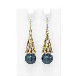 3 ctw Diamond & Pearl Earrings 18K Yellow Gold - REF-290Y9X