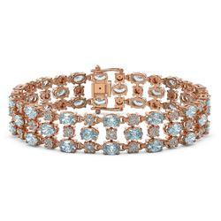 17.27 ctw Aquamarine & Diamond Bracelet 10K Rose Gold - REF-318X2A