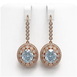 13.62 ctw Aquamarine & Diamond Victorian Earrings 14K Rose Gold - REF-409N3F