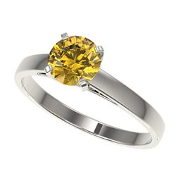 1 ctw Certified Intense Yellow Diamond Engagment Ring 10k White Gold - REF-163A2N