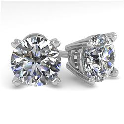 2.50 ctw Certified VS/SI Diamond Stud Earrings 18K White Gold - REF-609N3F