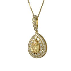 4.17 ctw Canary Citrine & Diamond Victorian Necklace 14K Yellow Gold - REF-127X3A