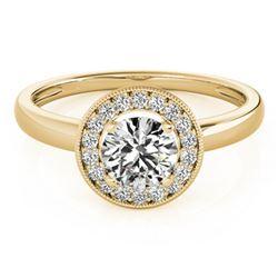 0.9 ctw Certified VS/SI Diamond Halo Ring 18k Yellow Gold - REF-140R6K