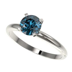 1 ctw Certified Intense Blue Diamond Engagment Ring 10k White Gold - REF-92F2M