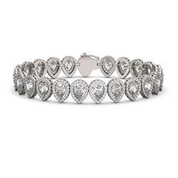 18.55 ctw Pear Cut Diamond Micro Pave Bracelet 18K White Gold - REF-2549M2G