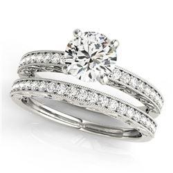 0.90 ctw Certified VS/SI Diamond 2pc Wedding Set Antique 14k White Gold - REF-107R8K