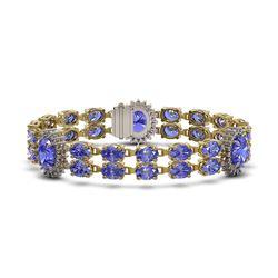 32.77 ctw Tanzanite & Diamond Bracelet 14K Yellow Gold - REF-366X3A