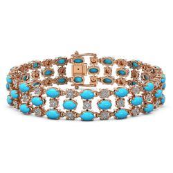 18.05 ctw Turquoise & Diamond Bracelet 10K Rose Gold - REF-227N3F